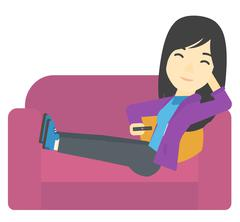 Woman sitting on the couch with remote control Stock Illustration