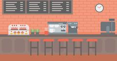 Background of bakery with pastry and coffee maker Stock Illustration