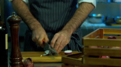 Restaurant Chef preparing ingredients for a salad. 60 FPS slow motion shot Stock Footage