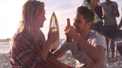 A couple is toasting their drink Stock Footage