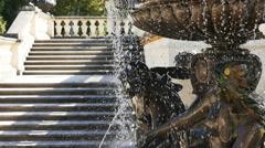 Closeup-Female nude figures fountain water splash Linderhoff Castle Germany - stock footage