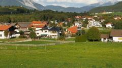 Alpine village in Bavarian Alps-PAN Stock Footage