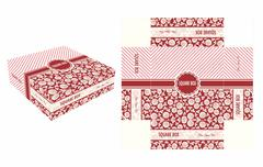 Red Flower Square Box - stock illustration