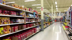 Cleaning and pet food product corridor in Superstore with 4k resolution Stock Footage