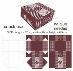 Floral Brown and Square Snack Box - stock illustration