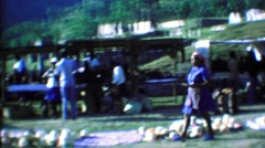 1974: Caribbean tourist souvenir markets women delivering goods. Stock Footage
