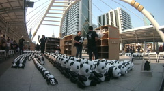 1600 papier-mache pandas, created by French artist Paulo Grangeon Stock Footage