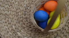 Easter Colored Eggs in a Basket Spin Stock Footage