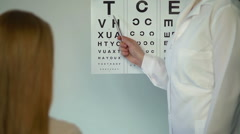 Eye doctor checking eyesight of female patient, reception at the ophthalmologist Arkistovideo