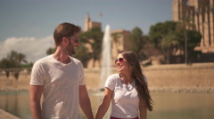 young couple in love on sightseeing - stock footage