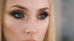 Beautiful eyes. Perfect make-up and eye shadow and lashes Stock Footage