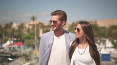 Young couple on sightseeing tour Stock Footage