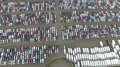 Aerial shot of new cars getting ready for transportation Stock Footage