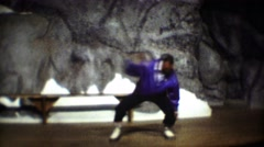 1974: Traditional native Inuit people dance performance from solo male. Stock Footage