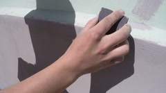 Worker Sanded After plastering the wall - stock footage