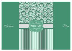 Foral Silver Turquoise Green Invitation - stock illustration