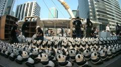 1600 papier-mache pandas - stock footage