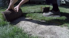 Workers hands unroll turf grass and hitting an ax on the grass - stock footage