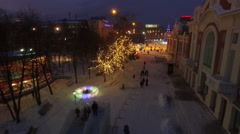 Aerial view Novosibirsk, Christmas tree ice rink Stock Footage