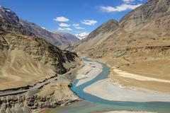 Confluence of Zanskar and Indus rivers - stock photo