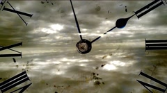 Grunge clock and clouds. time lapse Stock Footage