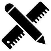 Ruler And Pen Design Maintenance Flat Vector Icon Stock Illustration