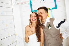 Emotional Funny Moment of Wedding Stock Photos