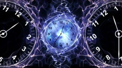 Two Clocks and Tunnel in Fibers Ring, Time Travel Concept, Background, Loop, 4k - stock footage