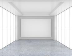 Empty room with white billboard and glossy concrete floor. 3d rendering Stock Illustration