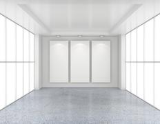 Empty room with white billboards and glossy concrete floor Stock Illustration