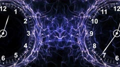 Two Clocks in Fibers Ring, Time Travel Concept, Background, Loop, 4k - stock footage