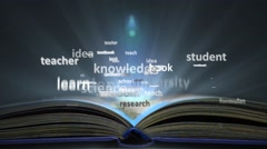 The concept of the word education. Word cloud emitted from the book Stock Footage