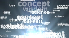 Close-up. The concept of the word education. Word cloud emitted light Stock Footage