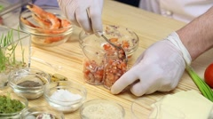 Cook prepares canapes in the kitchen Stock Footage