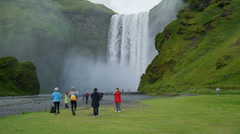 The famous Skogarfoss waterfall in the south of Iceland Stock Footage