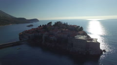 Aerial view of Sveti Stefan island Stock Footage