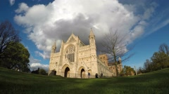 Panning timelapse from St Albans Cathedral to Abbey Gateway Stock Footage
