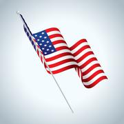 American Flag on Pole Waving Illustration Piirros