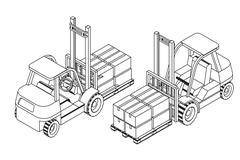 Forklift elevate the pallet with cardboard boxes Stock Illustration