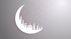 Islamic ramadan in white moon shape, particle background animation. - stock footage