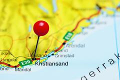 Kristiansand pinned on a map of Norway Stock Photos