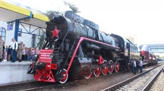 Russian historic  train Stock Footage