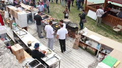 Open air kitchen in a festival Stock Footage