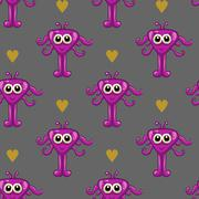 Seamless pattern with cute monster - stock illustration