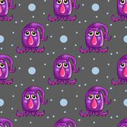 Seamless pattern with cute cartoon monsters Stock Illustration