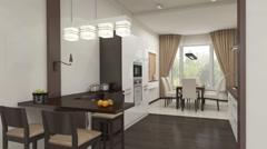 Kitchen interior Stock Footage