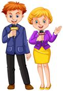 Two news reporters with microphones Stock Illustration