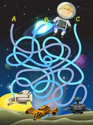 Game template with astronaut in space Stock Illustration