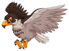 Eagle spreading its wings Stock Illustration