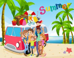 Family trip on the beach Stock Illustration